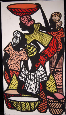Painting of four women of an African market, from west Africa, circa 1970s