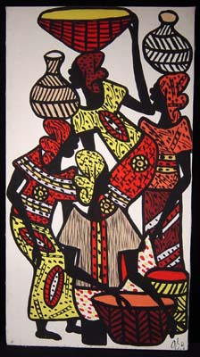 African Market scene painting, 1970s