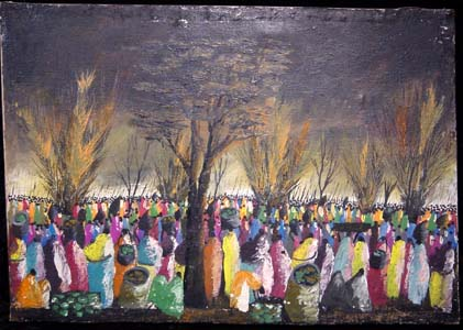 Painting signed M. Chuni of a large gathering of people