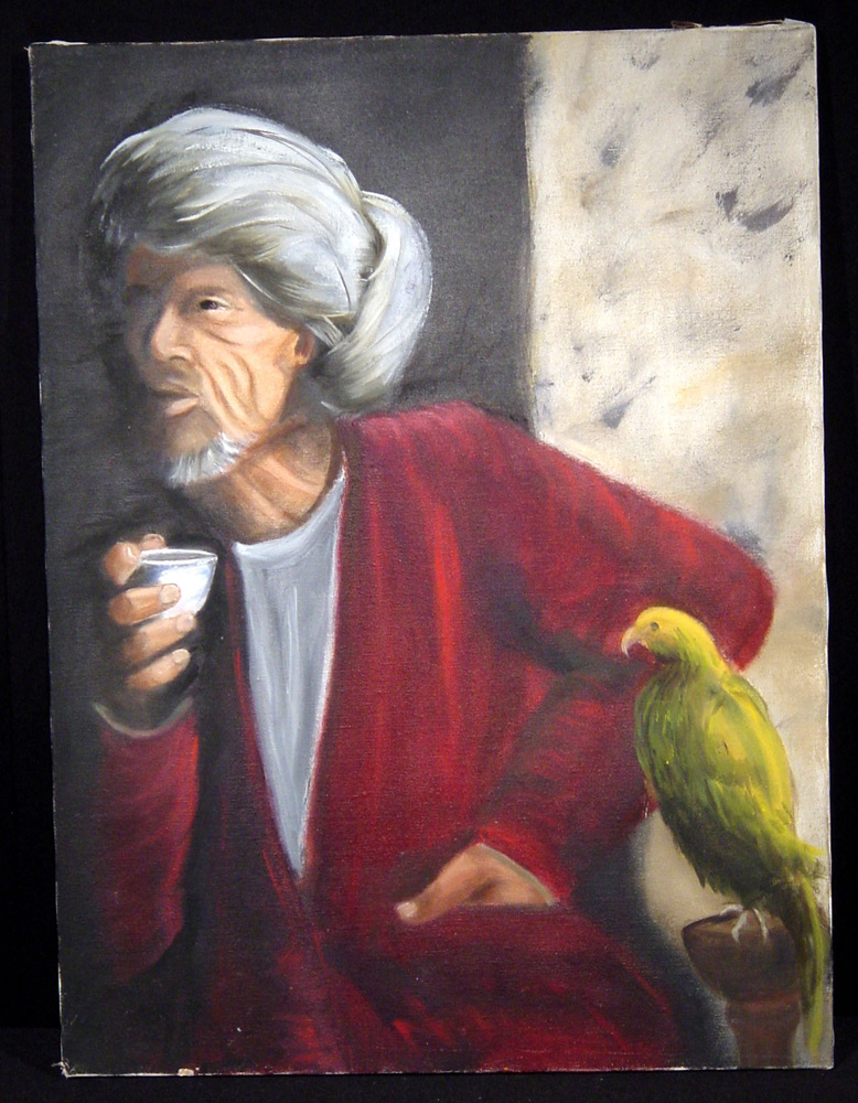 Painting of turbaned man with tea and parrot