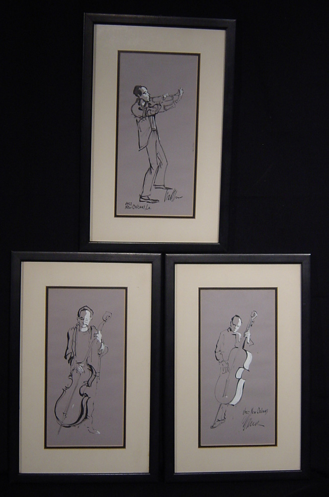 Set of 3 New Orleans jazz drawings