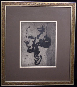 Framed etching by C. Rouhier, 1968
